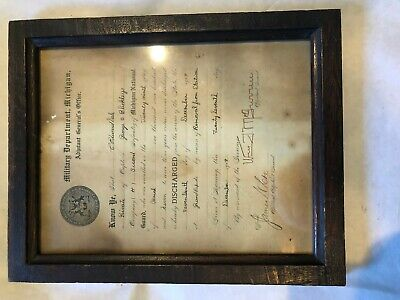 Michigan National Guard Discharge Paper 1909 Co H 2nd Michigan Infantry