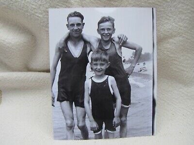 Black & White Reprint Photo Early 1900'S Boys In One-Piece Swimsuits~Bulge