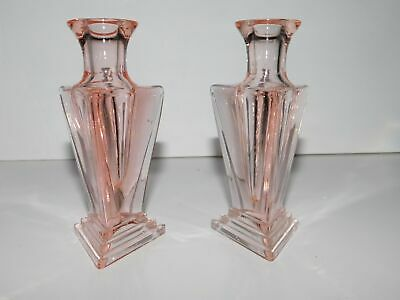 Pair Of Pink New Martinsville Modernistic Perfume Bottles No Stoppers
