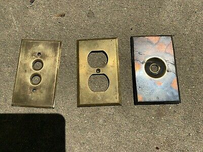 3 Antique Salvaged Electric BRASS Cover Plates -twist switch -push button outlet