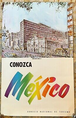 Original 1960s Mexico Travel Poster * Conozca * City Scene