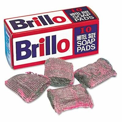 Brillo Steel Wool Soap Pad, Charcoal/Pink, 10 Pads (PUXW240000)