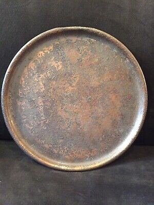 Beautiful Vintage Large Roycroft Bronze Hammered Copper Round Arts & Crafts Tray