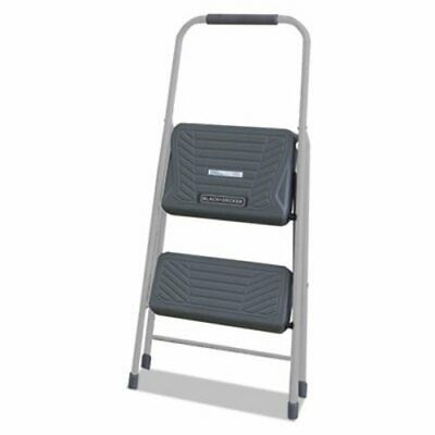 Black and Decker Steel Step Stool, Two-Step, 200 lb Cap, Gray (DADBXL436002)