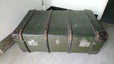 Antique / Vintage Leather & Wood Shipping Trunk Travel Case