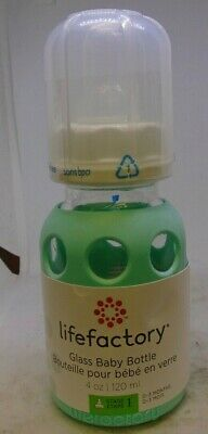 Lifefactory 4-Ounce BPA-Free Glass Baby Bottle with Protective Silicone Sleeve