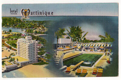 Miami Beach Florida c1950 Hotel Martinique, demolished in 1973, swimming pool