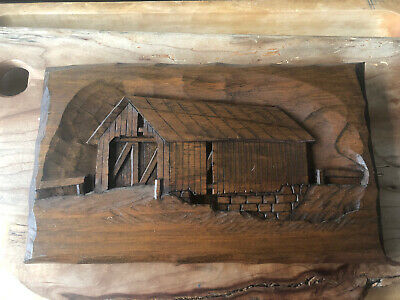 Vermont Carving Covered Bridge signed by Artist J. Donovan Folk Art Wooden Art