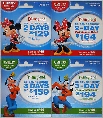 All 4 Different DISNEYLAND So California Passport Gift Cards 2014:Minnie & Goofy