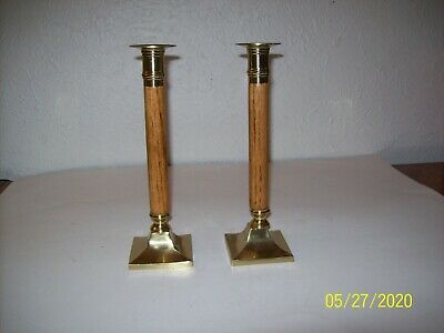 (#439) Pair Of Brass & Wood Candle Holders Candlesticks Taper HEAVY