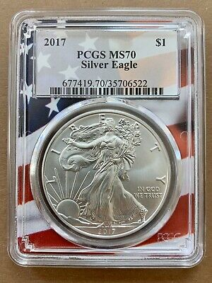 2017 $1 American Silver Eagle PCGS MS70 Flag Frame Label USA COIN NO RESERVE