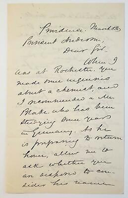 James Burrill Angell Autograph Letter University of Michigan President *********