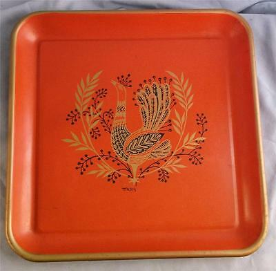 Vintage Rooster Design Metal Red Tole Tray By Maxey