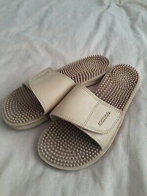 Maseur Invigorating Massage Sandals Slides Unisex Beige Maseur Size 10 comfort