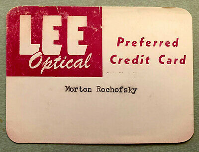 VTG 1960s Lee Optical Paper Credit Charge Card RARE