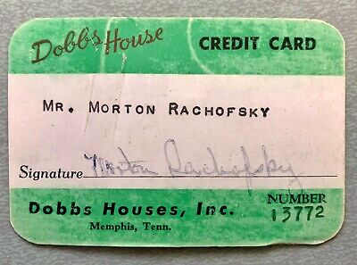 VTG 1960s Dobbs House Memphis TN Paper Credit Charge Card RARE