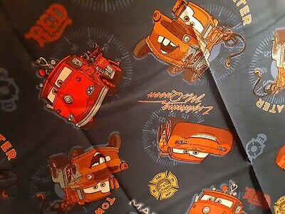 "Disney Pixar ""Cars"" Cotton Novelty Fabric Lighting McQueen 44"" x 38 "" Tow Mater"