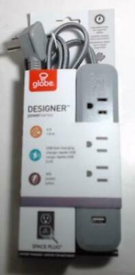 NEW Globe Electric 78252  6ft 3Outlet / 2USB Surge Space Plug Grey