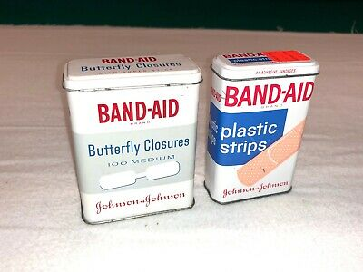 2 Vintage Band-Aid Metal Tin boxes Butterfly Closures & Plastic Strips, Johnson