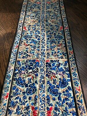 Antique Chinese Qing HAND EMBROIDERED PANEL ROBE SLEEVES CUFFS Butterfly SILK