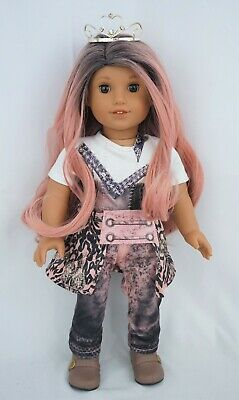 "Descendant Audrey Custom American Girl Doll 18"" pink ombre hair & brown eyes"