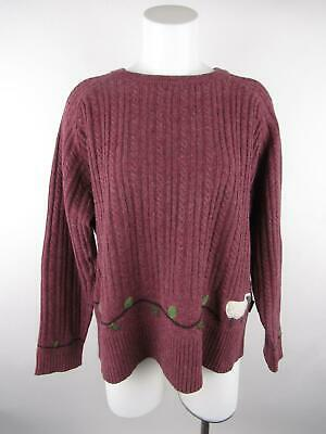 Woolrich Women XL Maroon Lambs Wool Cable Knit Sheep Crew Neck Pullover Sweater