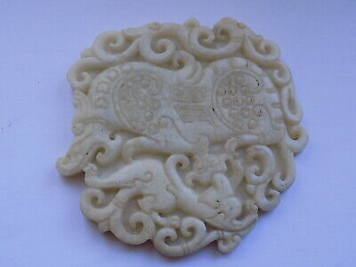 CHINESE HAND CARVED JADE or HARD STONE PENDANT 8.4 cm WIDE