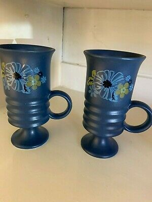 TWO Vintage Carlton Ware Pottery coffee / latte blue floral footed mugs