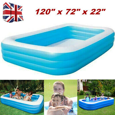 "120"" Large Family Swimming Pool Garden Outdoor Inflatable Kids Paddling Pools UK"