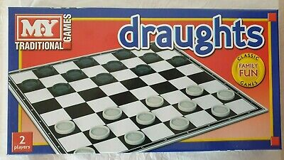 Draughts Checkers Board Game Family Kids Traditional Folding Board Game