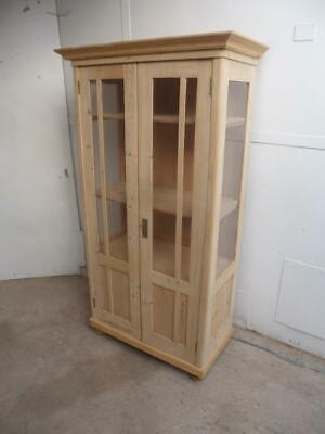 A Beautiful Antique/Old Pine Display Cabinet/Kitchen Dresser to Wax/Paint