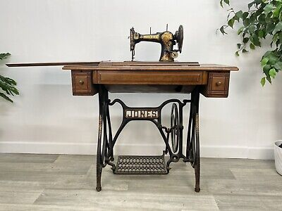 Beautiful Antique Jones Sewing Machine With Treadle and Cast Iron Table MY106#