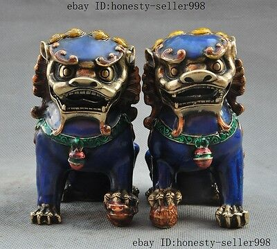 Old Chinese Fengshui bronze Cloisonne Guardion Foo Fu Dog Lion beast statue pair