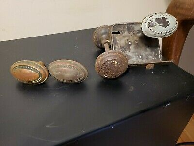 Vintage Doorknob Sets -Brass Oval, Steel Oval & Round Steel-Embossed + Latch