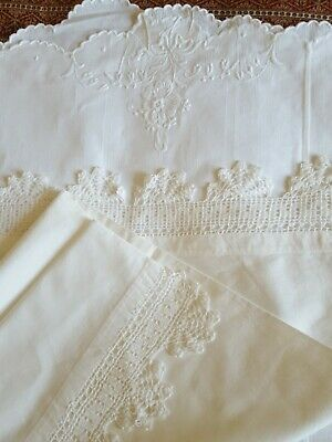 Linen Embroidered Bolster Cover + 1 Pretty Pillow Case Lace Trim Ex. Condition