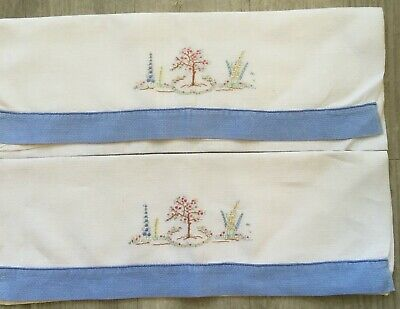 Pair Vintage Cotton Huckback Towels. Hand Embroidered.