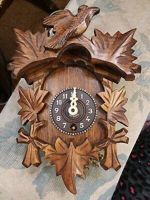 Antique German Carved Wood Black Forest Miniature Cuckoo Clock Perfect Condition