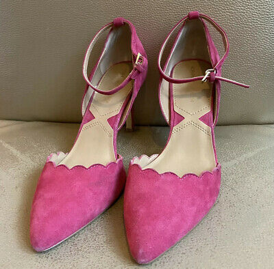 ADRIENNE VITTADINI Ladies Hot Pink Suede Pointed-Toe Scallop Edge Pump Size 9.5