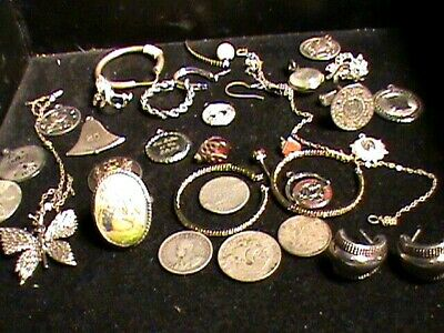 Sterling Silver  Scrap Jewelry And  Silver Coin Lot. .