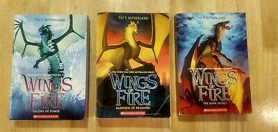 3 Wings of Fire books by Tui T. Sutherland (Trade Paper)