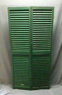 Pair Vtg House Window Wood Louvered Shutters 17X70 Shabby Old Chic Green 534-20B