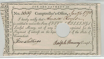 Connecticut Comptroller's Office Note - 5 shillings  Jan. 4, 1790