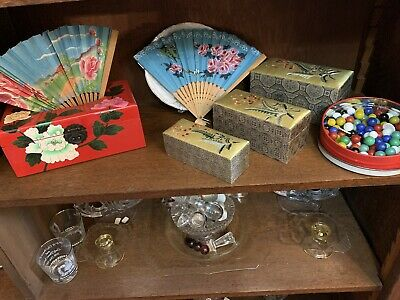 Vintage Oriental Fans, Silk Boxes, Lacquer Tissue  Box And Marbles