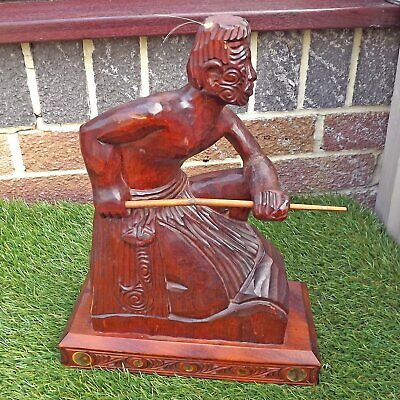 Large Vintage Hand Carved Maori Warrior - Kauri & Abalone Carving - New Zealand