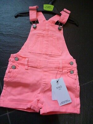 Girls Neon Pink Denim Short Dungarees Age 2-3 Years.bnwt.**Marks And Spencer**
