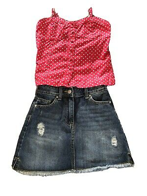 Girls Lovely Summer Outfit With Denim Skirt Age 10 Years