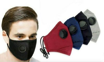 4 Layers Cotton Face Mask With Air Valve Washable Reusable Breathable Uk