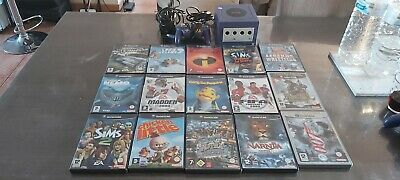 Lot Console Nintendo Game Cube GameCube violette 1manette + câbles  + 15 jeux