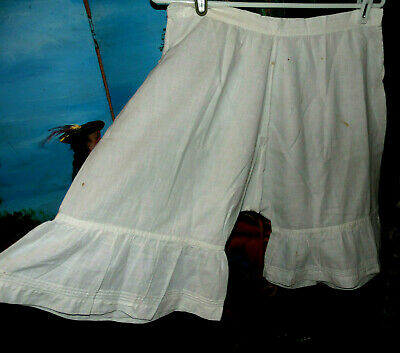 Antique Victorian 1800s Lovely Flouncy Pleated Ruffle Dress Bloomers W29 tlc