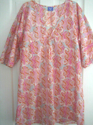 Pine Cone Hill woven cotton sleep shirt, EUC, summer, pinks paisley floral, M-L